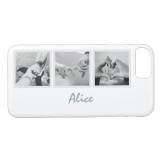 Square Frame Custom Photos and Name on Plain White iPhone 8/7 Case