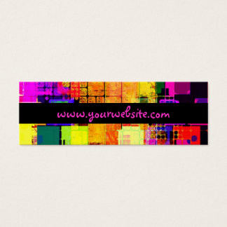 Square Geometric Multicolored Pattern Mini Business Card