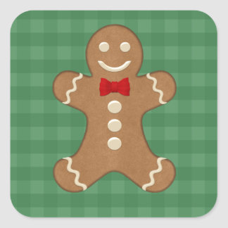 Square Gingerbread Man Cookie Holiday Stickers