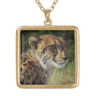 Square Goldtone Cheetah Necklace