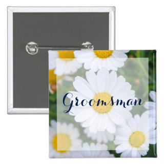 Square Groomsman Floral Wedding Buttons Daisy