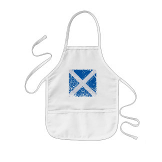 Square Grunge Scottish Flag Kids Apron