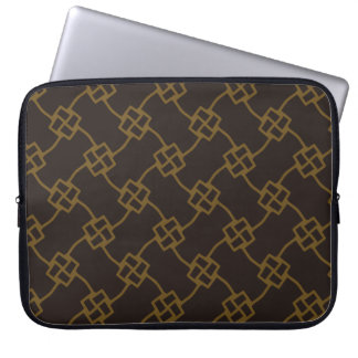 Square knot abstract in gold laptop sleeve