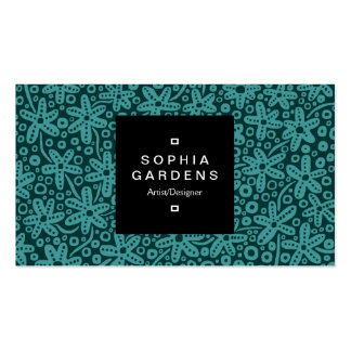 Square Label 01a - Flower Patt - Shades of Green02 Business Card Template