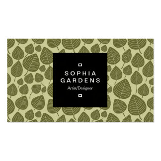 Square Label 01a - Leaf pattern 02 - Olive Shades Business Card Templates