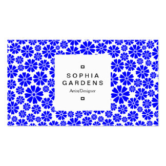 Square Label 03a - 8 Petals - Blue on White Business Card Templates