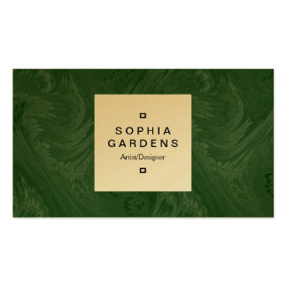 Square Label 04c - Dark Green Business Card