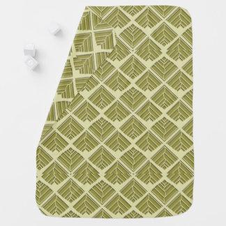 Square Leaf Pattern Gold Lime Light Baby Blanket