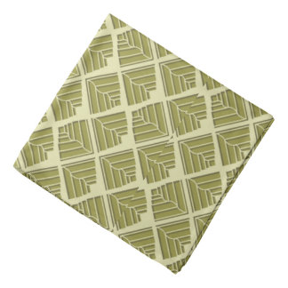 Square Leaf Pattern Gold Lime Light Bandana