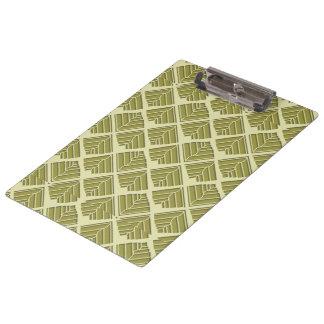 Square Leaf Pattern Gold Lime Light Clipboard