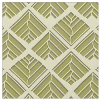 Square Leaf Pattern Gold Lime Light Fabric