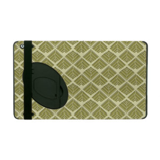 Square Leaf Pattern Gold Lime Light iPad Folio Case