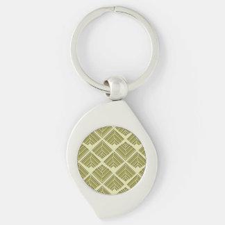 Square Leaf Pattern Gold Lime Light Key Ring