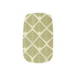 Square Leaf Pattern Gold Lime Light Minx Nail Art
