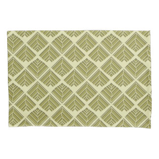 Square Leaf Pattern Gold Lime Light Pillowcase