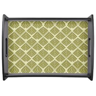 Square Leaf Pattern Gold Lime Light Serving Tray