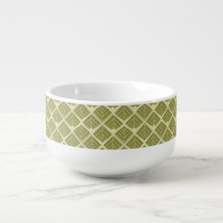 Square Leaf Pattern Gold Lime Light Soup Mug