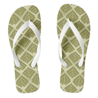 Square Leaf Pattern Gold Lime Light Thongs