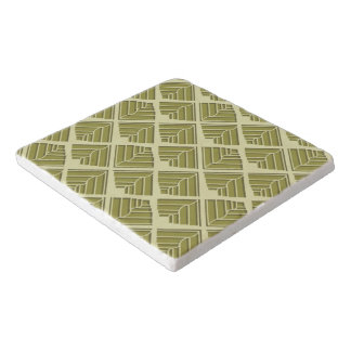 Square Leaf Pattern Gold Lime Light Trivet