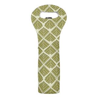 Square Leaf Pattern Gold Lime Light Wine Bag