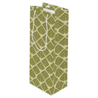 Square Leaf Pattern Gold Lime Light Wine Gift Bag