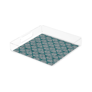 Square Leaf Pattern Teal Neutral Acrylic Tray