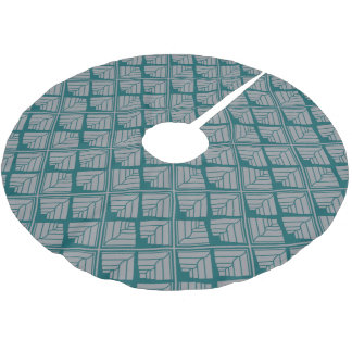 Square Leaf Pattern Teal Neutral Brushed Polyester Tree Skirt