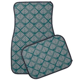 Square Leaf Pattern Teal Neutral Car Mat