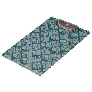 Square Leaf Pattern Teal Neutral Clipboard
