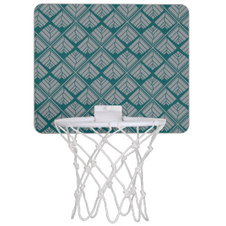 Square Leaf Pattern Teal Neutral Mini Basketball Hoop