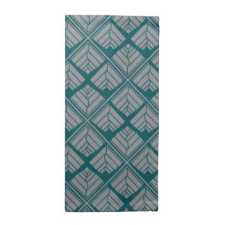 Square Leaf Pattern Teal Neutral Napkin