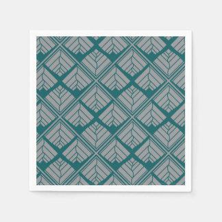 Square Leaf Pattern Teal Neutral Paper Serviettes