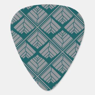 Square Leaf Pattern Teal Neutral Plectrum