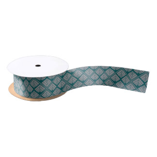 Square Leaf Pattern Teal Neutral Satin Ribbon