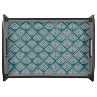 Square Leaf Pattern Teal Neutral Serving Tray