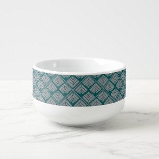 Square Leaf Pattern Teal Neutral Soup Mug
