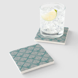Square Leaf Pattern Teal Neutral Stone Coaster