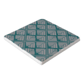 Square Leaf Pattern Teal Neutral Trivet