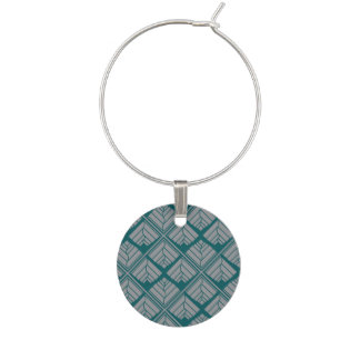 Square Leaf Pattern Teal Neutral Wine Charm