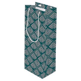Square Leaf Pattern Teal Neutral Wine Gift Bag