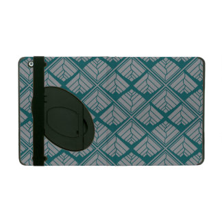 Square Leaf repeat Teal Gray iPad Cover