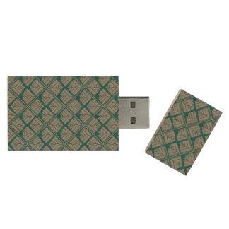 Square Leaf repeat Teal Gray Wood USB Flash Drive