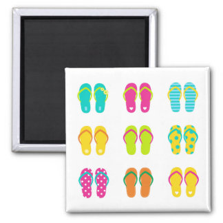 Square magnet with Summer shoes