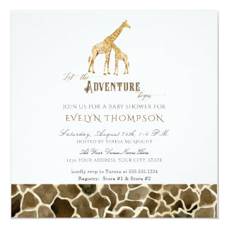 Square Modern Safari Adventure Baby Shower Giraffe Card