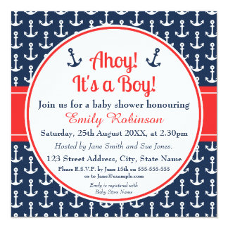 Square Nautical Baby Shower Invitation Boy