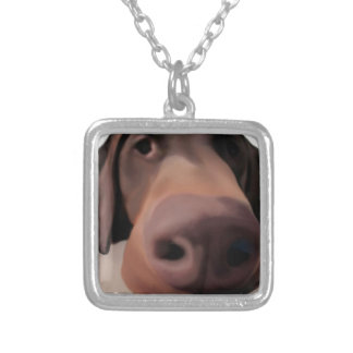 Square Necklace Big Dog Nose Painted