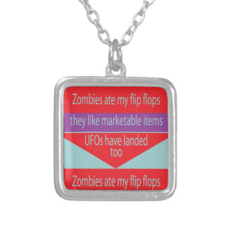 Square Necklace with Humorous Text Design