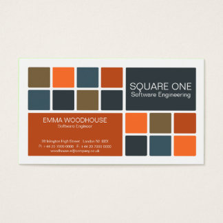 Square One White, Blue & Rust Business Card