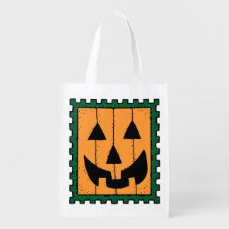 Square Orange Jack-O-Lantern Halloween Candy Bag