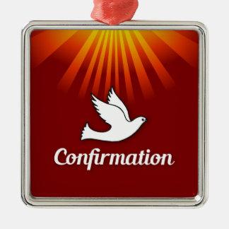Square Ornament, Confimrtion, Dove on Red, Silver-Colored Square Decoration